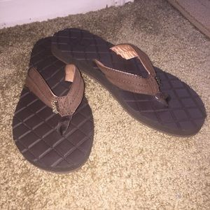 Women's Brown Reef flip flops Size 9